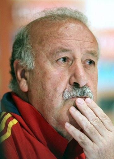 El seleccionador español Vicente del Bosque durante la rueda de prensa previa al amistoso ante Corea del Sur.