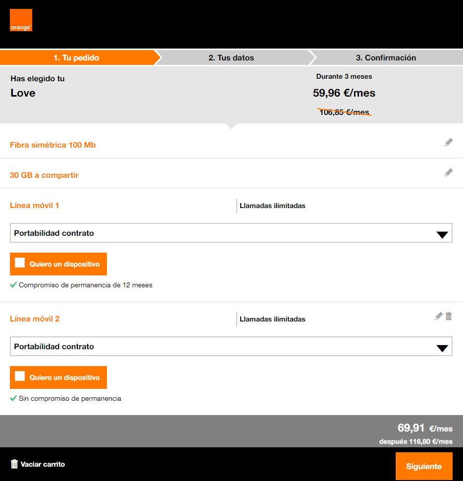 como configurar tarifa love tarifa configurable