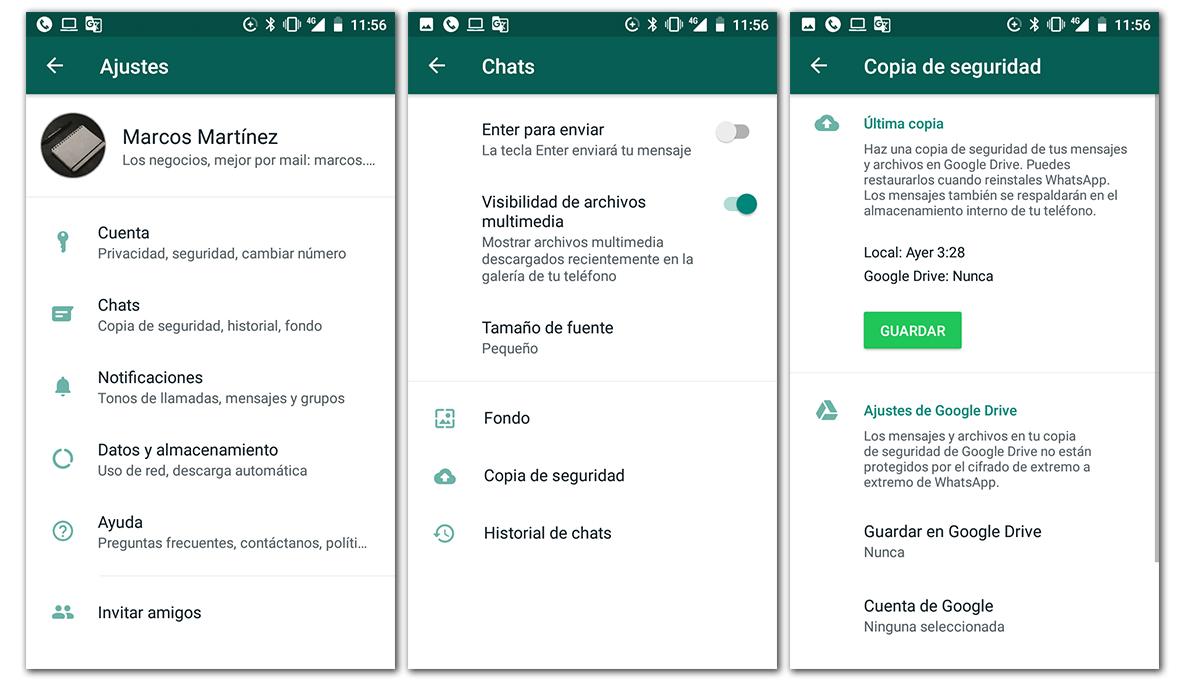 como hacer copia de seguridad android whatsapp