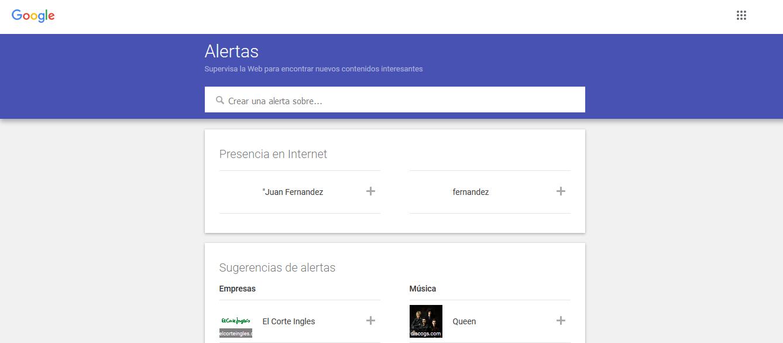portada del servicio de alertas de Google
