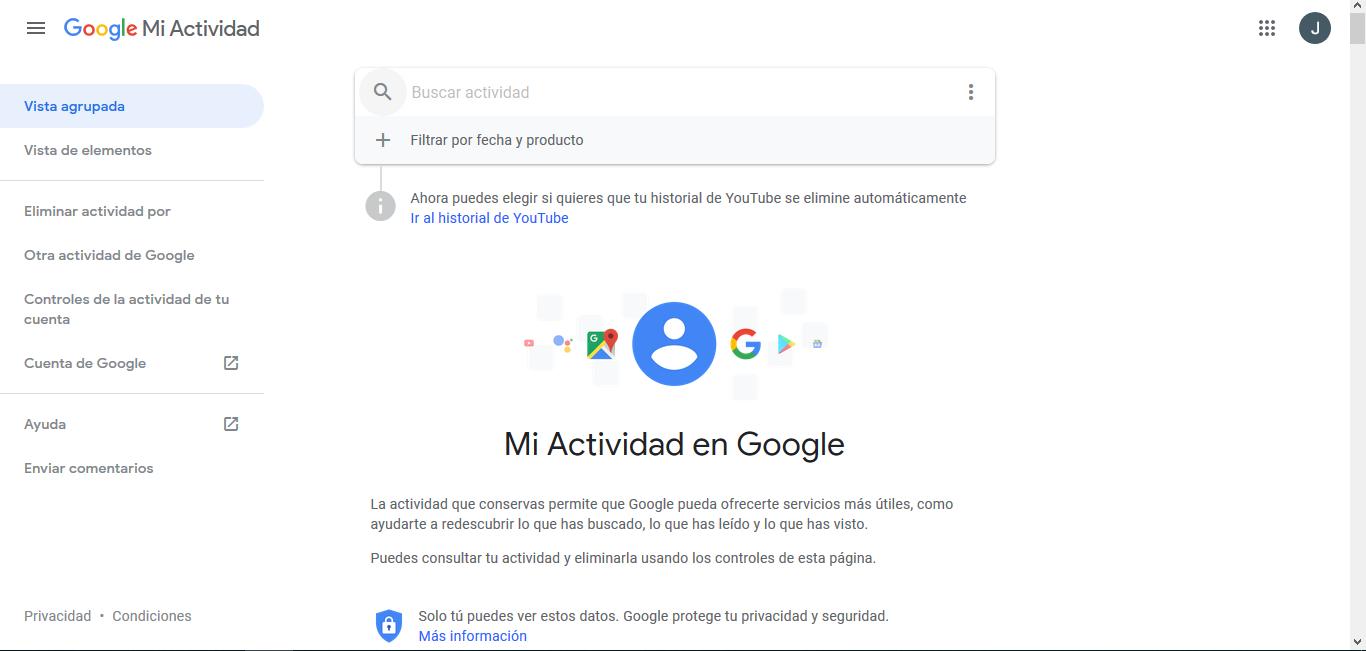 borrar los registros de la cuenta de Google