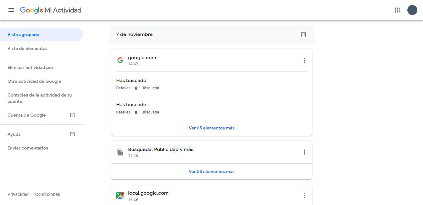 menú de mi actividad de Google