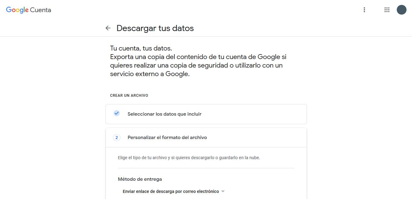 cómo descargar los datos de historial de Google