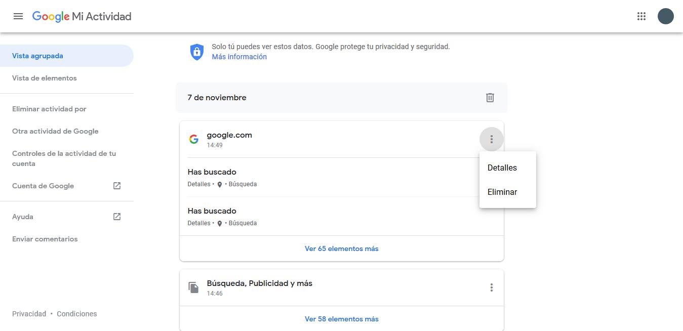 elminiar mi historial de Google