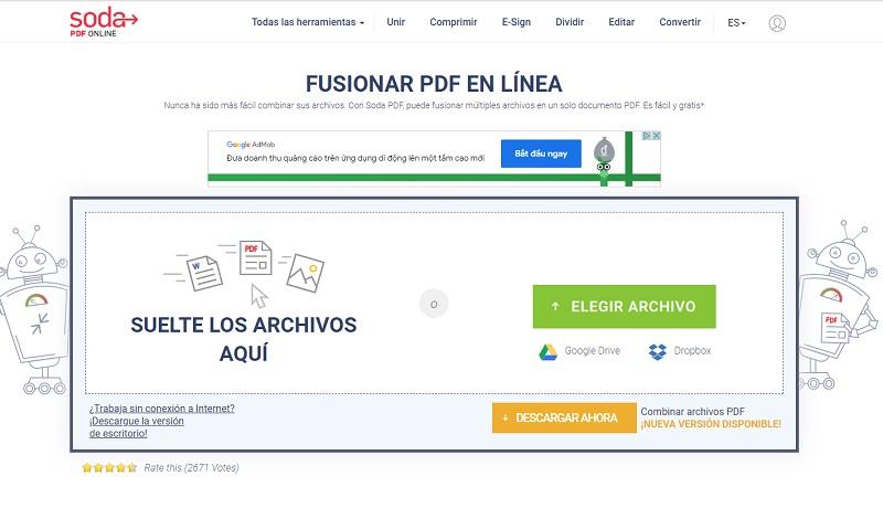 Soda PDF, un servicio para combinar PDF