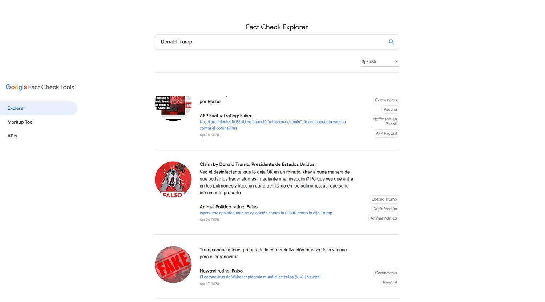 verificación con la herramienta de Google