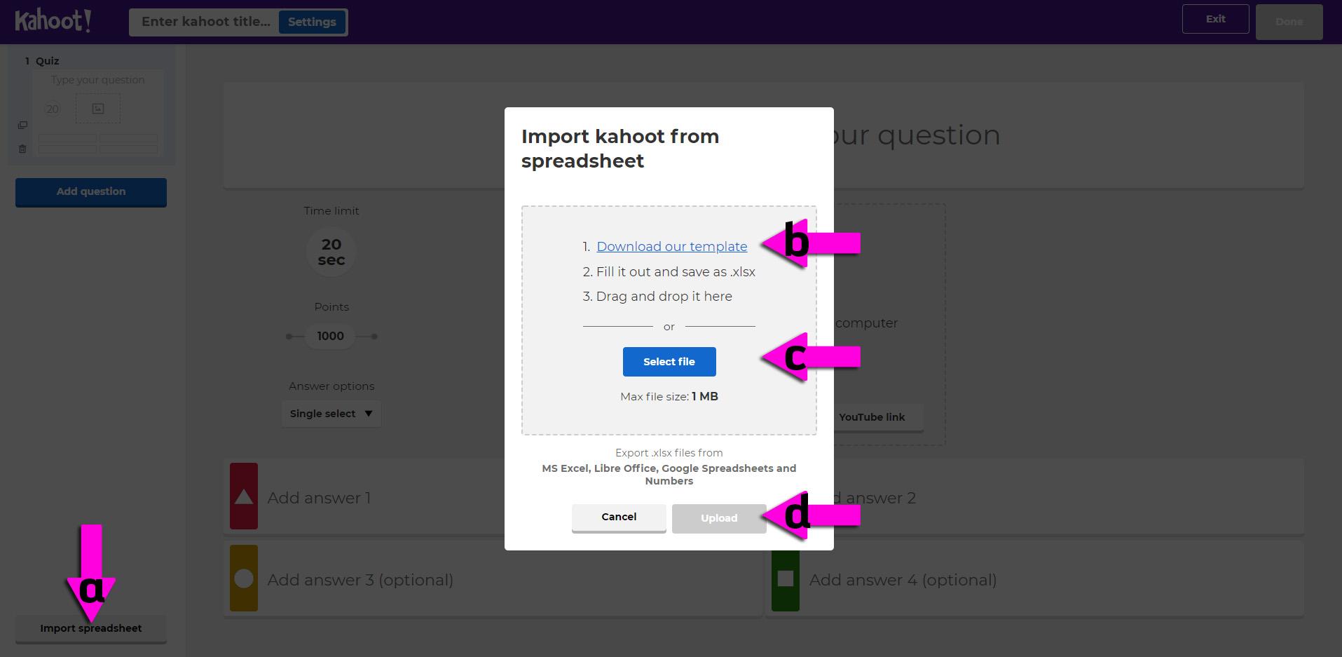 kahoot espanol import carga extensiva instrucciones
