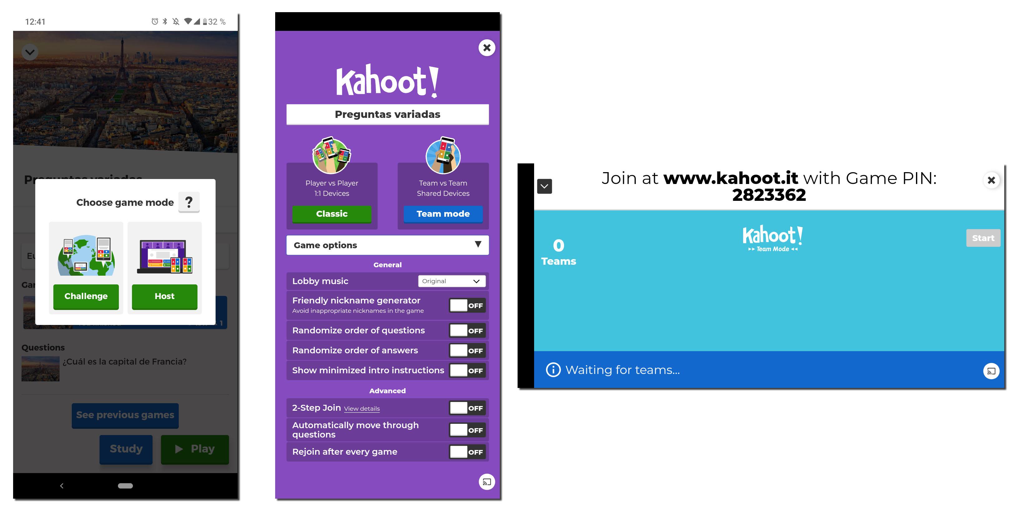 kahoot espanol jugar en linea